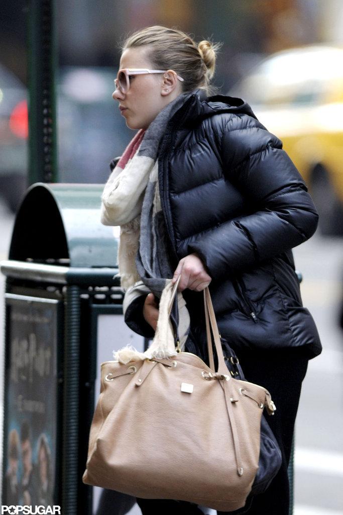 Scarlett Johansson wore her hair in a bun while running an errand.