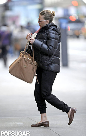 Scarlett Johansson sported a puffy jacket as she ran errands.