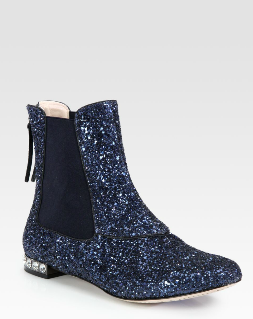 Who says you need high heels to party? These Miu Miu Glitter Leather and Jewel Ankle Boots ($525, originally $750) are perfect for dancing the night away.