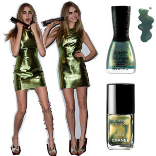 Metallic Green Nail Polish Like the Cara's Burberry Dress
