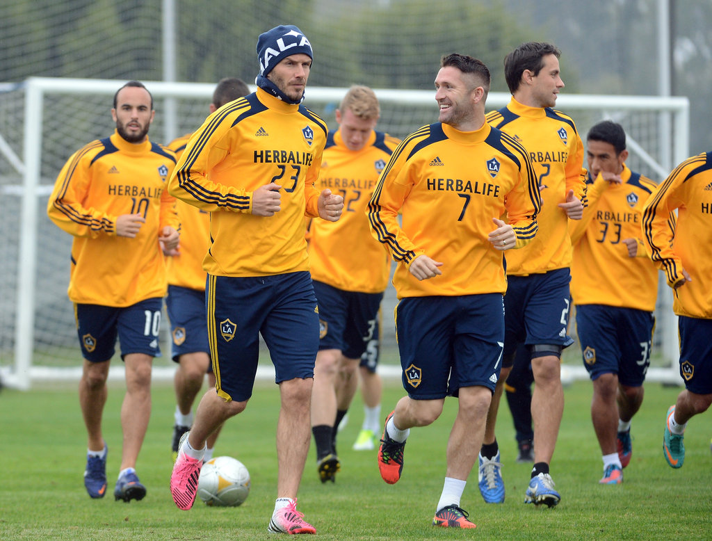 David Beckham practiced with the LA Galaxy.