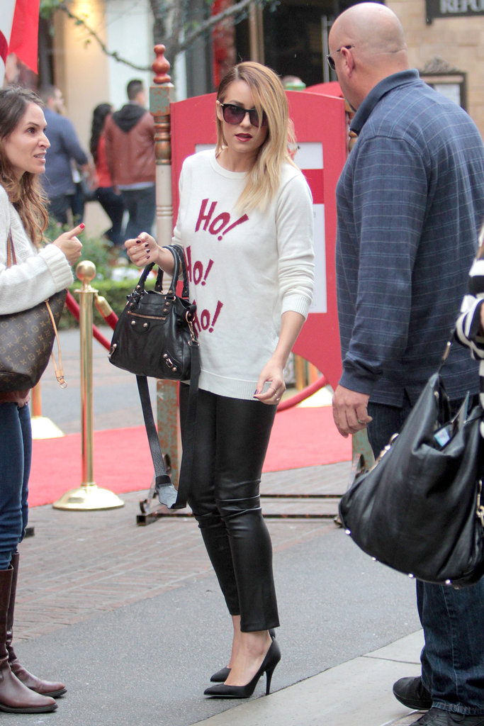 Lauren Conrad wore a festive holiday sweater.
