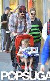 Violet Affleck hitched a ride in a stroller as the Garner-Afflecks visited Disneyland in February.