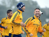 David Beckham ran laps during an LA Galaxy practice.