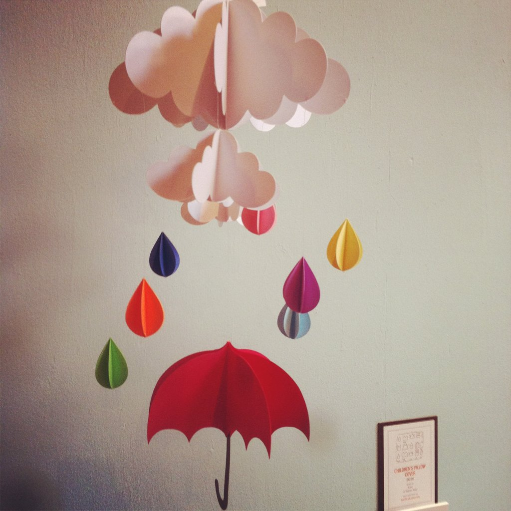 Red Umbrella-and-Raindrops Hanging Baby Mobile