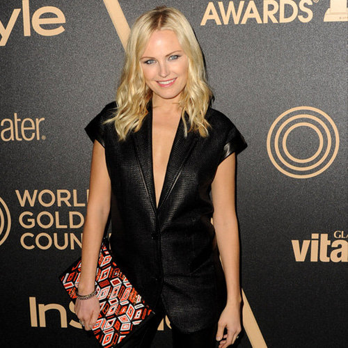 Malin Akerman Carrying Geometric Clutch