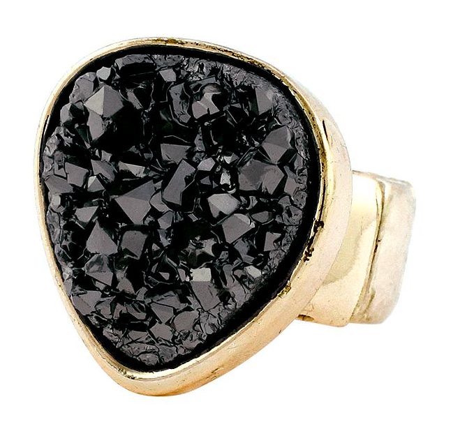 We dig the texture and black color of this BCBG Max Azria black rock crystal ring ($35).