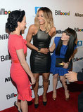 Carly Rae Jepsen greeted Katy Perry on the red carpet at Billboard's Women in Music event in NYC.