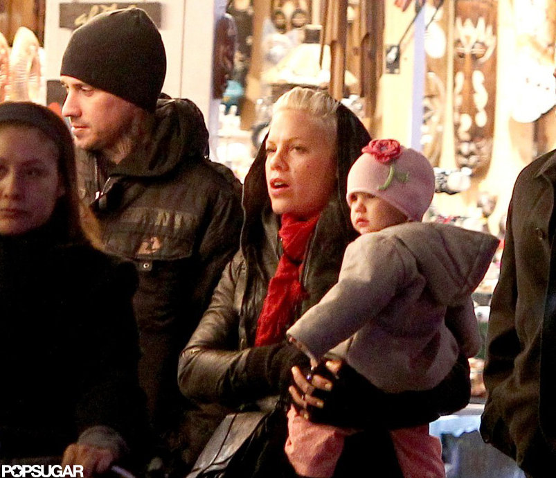 Pink and Carey Hart took Willow Hart to a holiday showcase in the Noel Market on the Champs-Élysées in Paris.