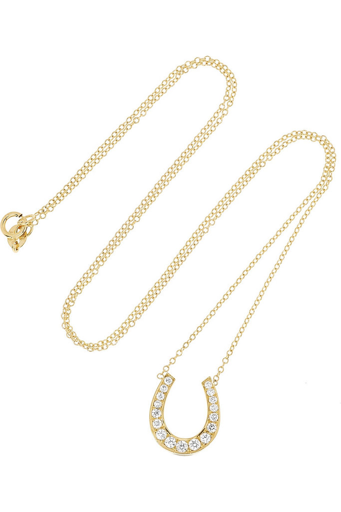 Anita Ko's gold diamond horseshoe necklace ($3,675) is simply irresistible. I'd wear it on my neck 365 day