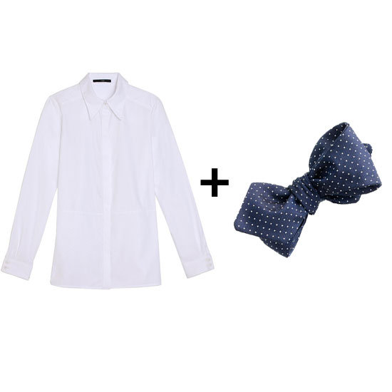 For classic styling, pair a crisp white shirt with a cute navy pin-dot bow tie. Finish the look with a printed sweater, pencil skirt, and you're ready for a chic day at work. Get the look: Tibi poplin shirt ($295) J.Crew Pindot Silk Bow Tie ($52)