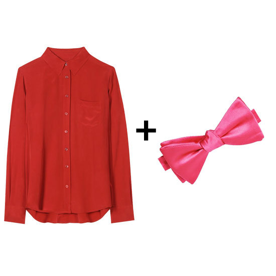 Red and pink together is one of our favorite color combos. For your next holiday party, pair these two together and finish with a red silk maxi skirt for a stunning, statement look. Get the look:  Equipment Brett silk blouse ($119, originally $198) Stafford satin pink bow tie ($20)