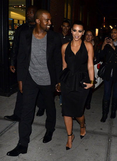 Kanye West and Kim Kardashian held hands after dinner in NYC in April 2012.