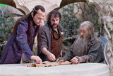 Hugo Weaving, Peter Jackson, and Ian McKellan behind the scenes of The Hobbit: An Unexpected Journey.