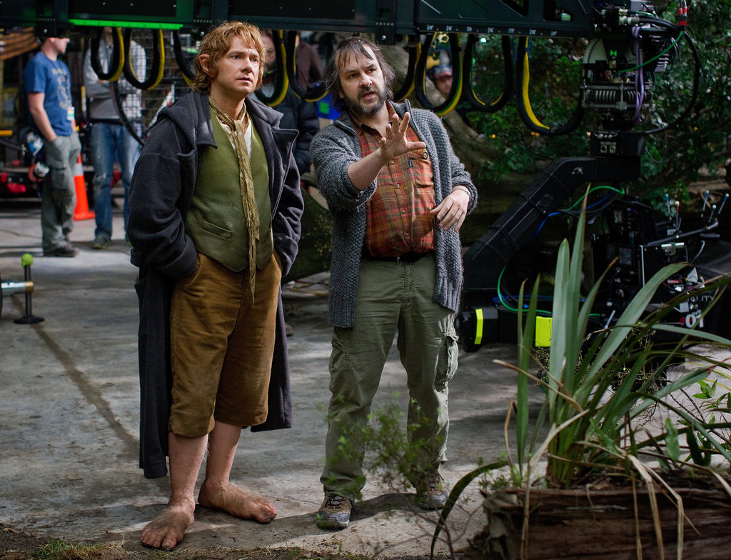 Peter Jackson and Martin Freeman behind the scenes of