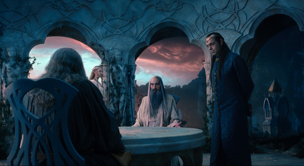 Cate Blanchett, Christopher Lee, and Hugo Weaving in The Hobbit: An Unexpected Journey.