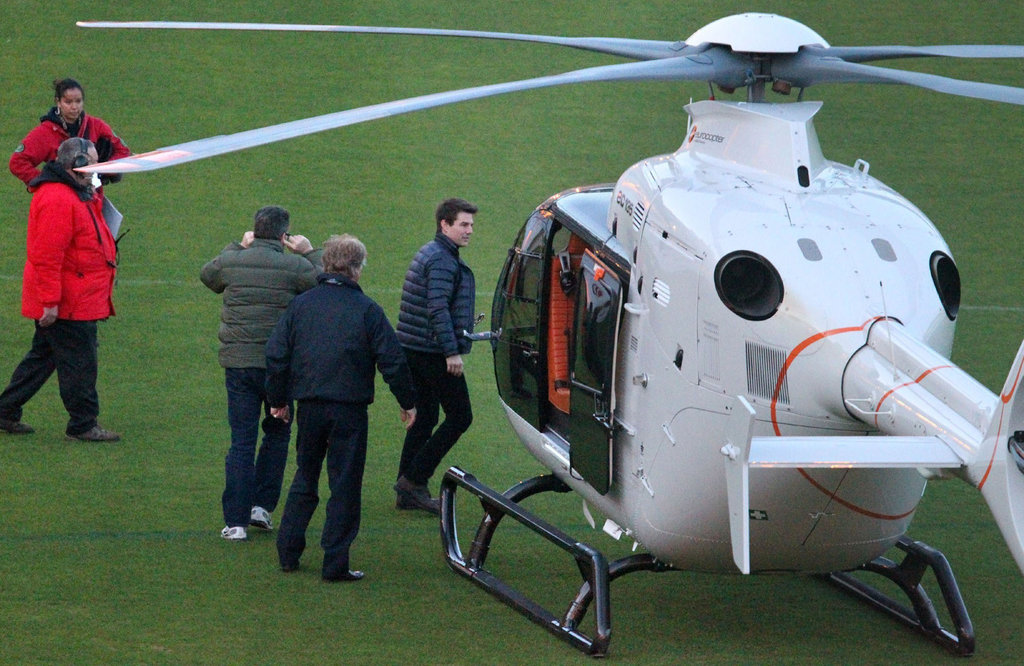 Tom Cruise arrived on set in a white helicopter.