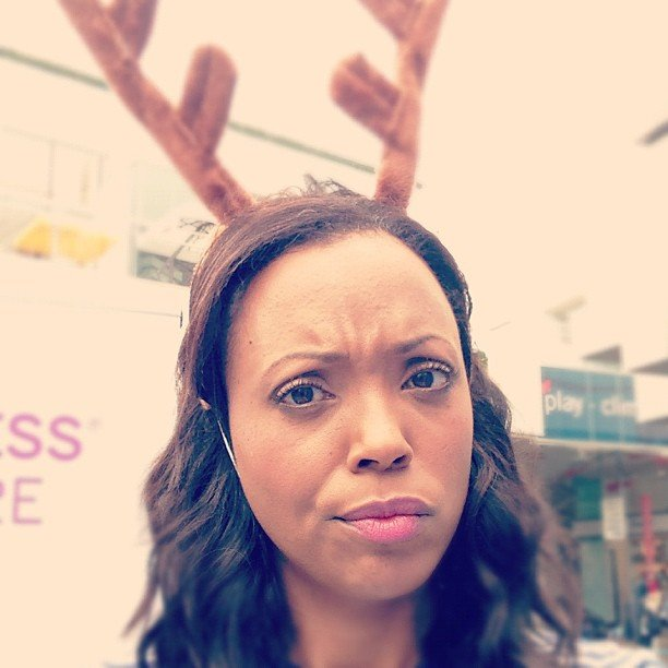 Aisha Tyler wore reindeer antlers.  Source: Instagram user aishatyler