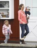 Jennifer Garner carried Samuel while Seraphina followed close behind.