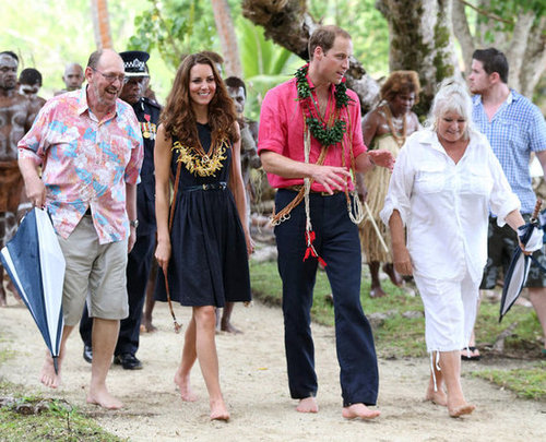 She may have gone barefoot in the Solomon Islands during the couple's Diamond Jubilee tour, but this navy Mulberry dress is still the Summer statement piece.