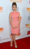 Sarah Hyland wore a peachy pink Erin Fetherston sheath with gold Giuseppe Zanotti pumps.