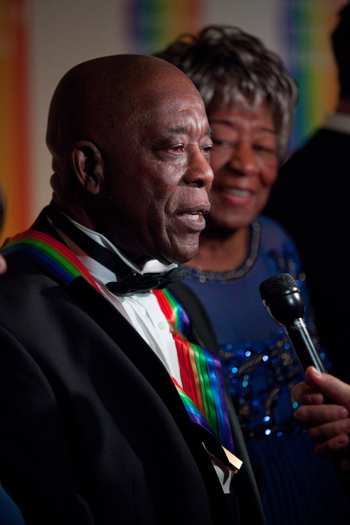 Honoree Buddy Guy spoke with the media upon his arrival at the 35th Kennedy Center Honors.