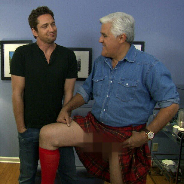 Jaw Leno showed off a little more than we're comfortable with, but guest Gerard Butler was cool with it. Source: Instagram user tonightshow