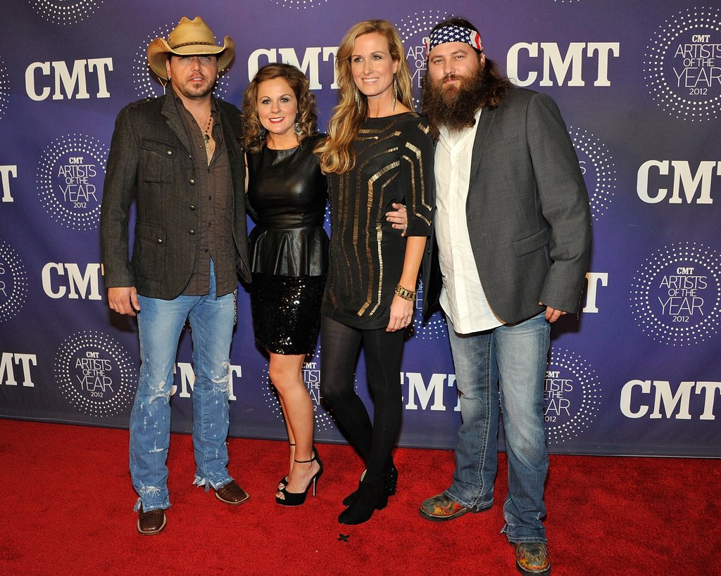 Jayson Aldean, Jessica Aldean, Korie Robertson, and Willie Robertson arrived at the 2012 CMT Artists of the Year celebration.