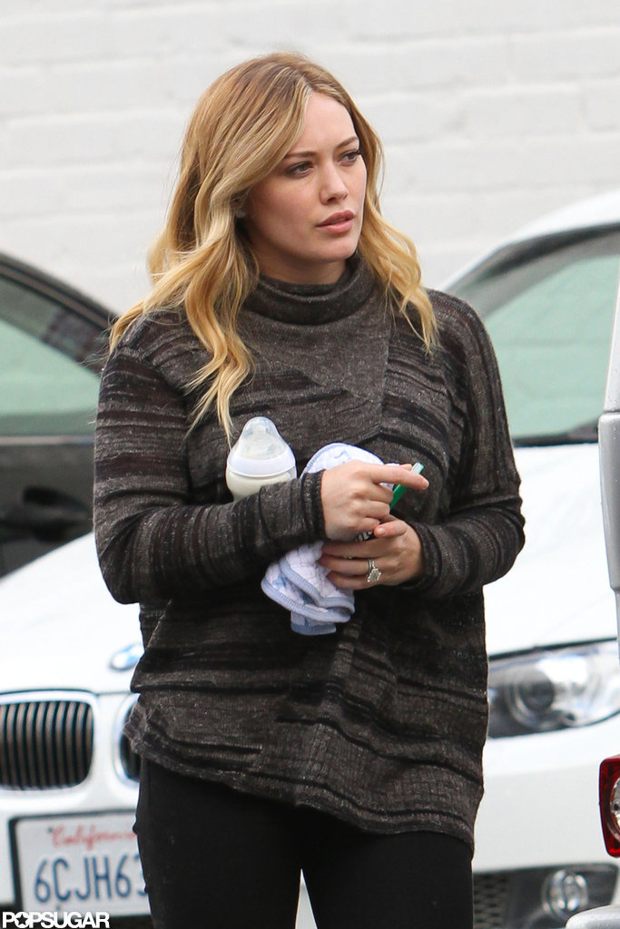 Hilary Duff got out of her car to run errands in LA.