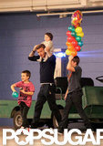 David, Brooklyn, Cruz, and Harper went to a February birthday party at a bowling alley in LA.