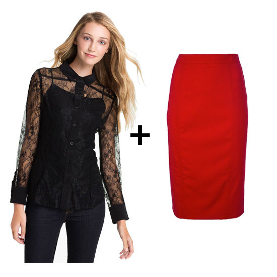 We can never get enough of red and black together, especially around the holidays, so match a black lace blouse with a fiery red pencil skirt for a sweet and sophisticated pairing. Add platform pumps and black gloves for more pizzazz.  Get the look: Max & Mia sheer black lace blouse ($34, originally $68) Valentino red pencil skirt ($630)