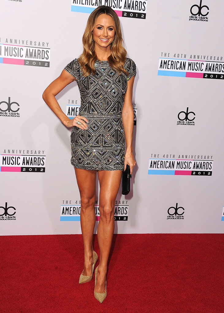 An all-over embellished cocktail mini like Stacy Keibler's Collette Dinnigan dress is always party-appropriate.