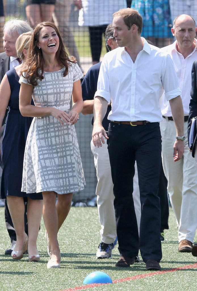 Kate laughed as William looked on when the visited Bacon's College in July 2012.