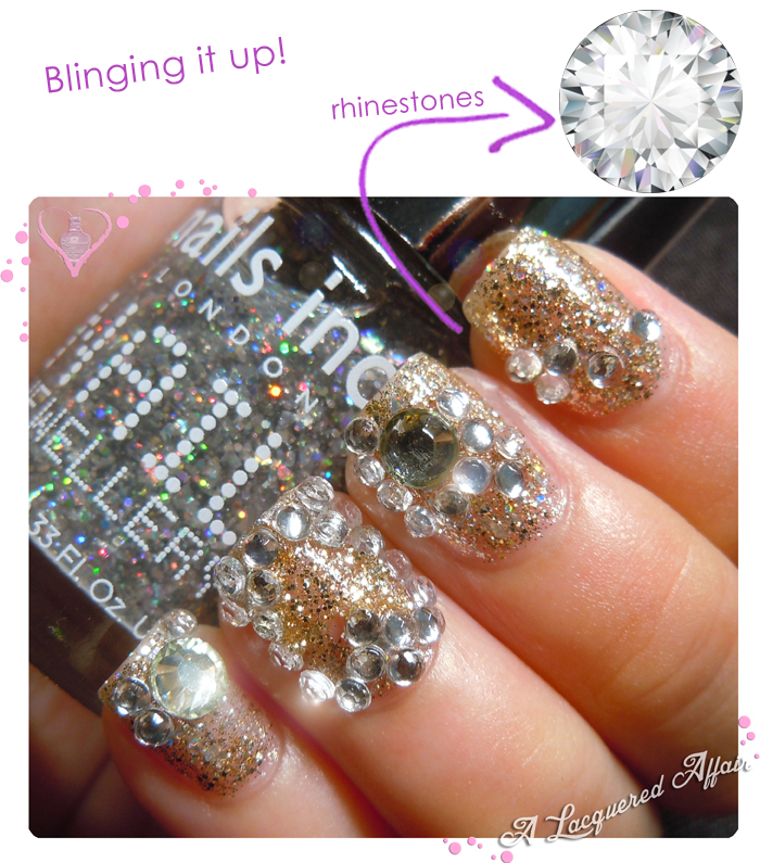 Nails blinged up with rhinestones