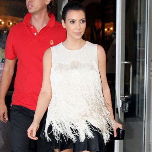 Kim Kardashian Wearing White Fringe Top