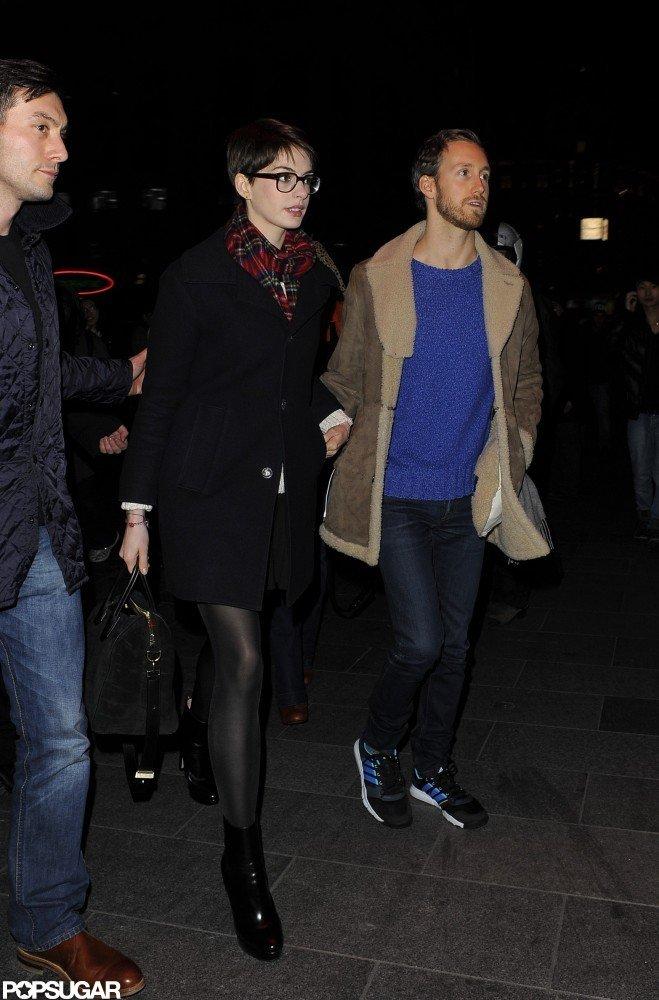 Anne Hathaway and Adam Shulman walked hand in hand.