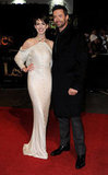 Anne Hathaway and Hugh Jackman posed for photos at the Les Miserables premiere in London.
