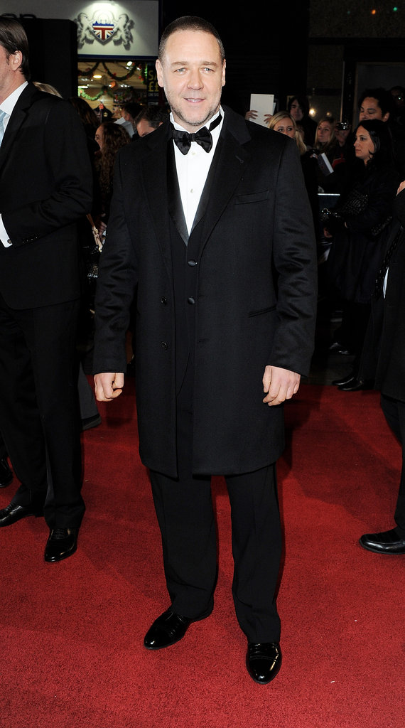 Russell Crowe attended the Les Miserables premiere in London.