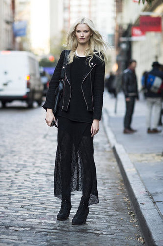 Embrace your darker side in a sultrier lace maxi, layered up with black tights and finished with a col-girl moto jacket. Source: Adam Katz Sinding