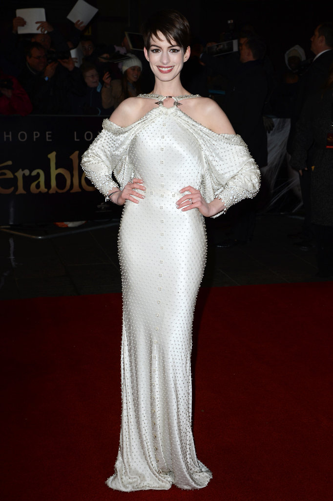 Anne Hathaway hit the red carpet wearing a gorgeous rhinestone-embellished Givenchy Couture gown for a London premiere in December 2012.