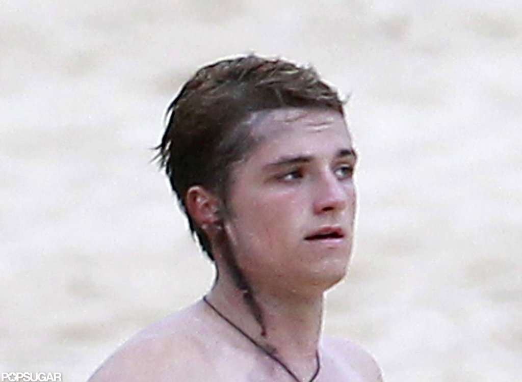 Josh Hutcherson had a fake wound on set.