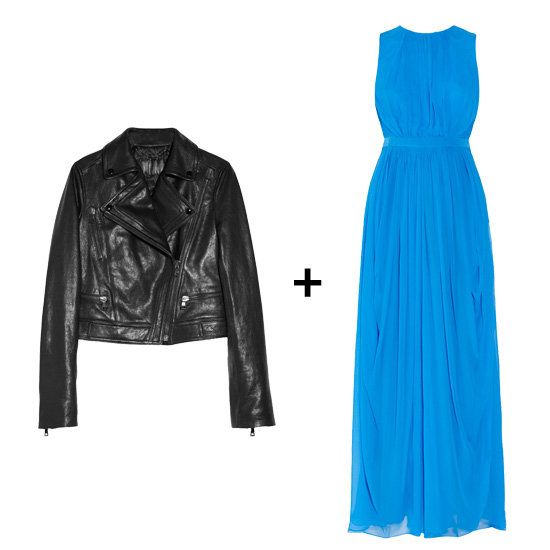 Leather Jacket + Bright Gown
