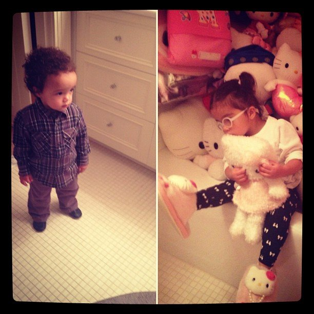 Mariah Carey's twins had differing thoughts on the room full of Hello Kitty toys. Source: Instagram user mariahcarey