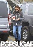 Jennifer Garner sported jeans and boots.