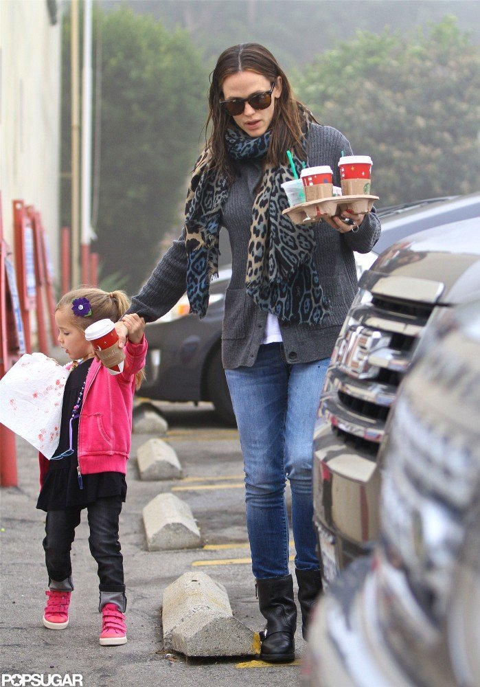 Jennifer Garner held hands with Seraphina Affleck.