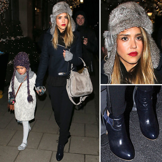 Jessica Alba makes us want a trapper hat too.