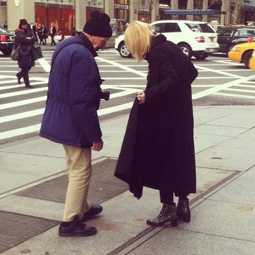 We spotted Bill Cunningham — in his signature blue jacket, of course — while walking to work.