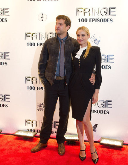 Diane Kruger joined her beau Joshua Jackson to celebrate Fringe's 100 episodes in a form-fitting Altuzarra that was also cut to show a little leg.