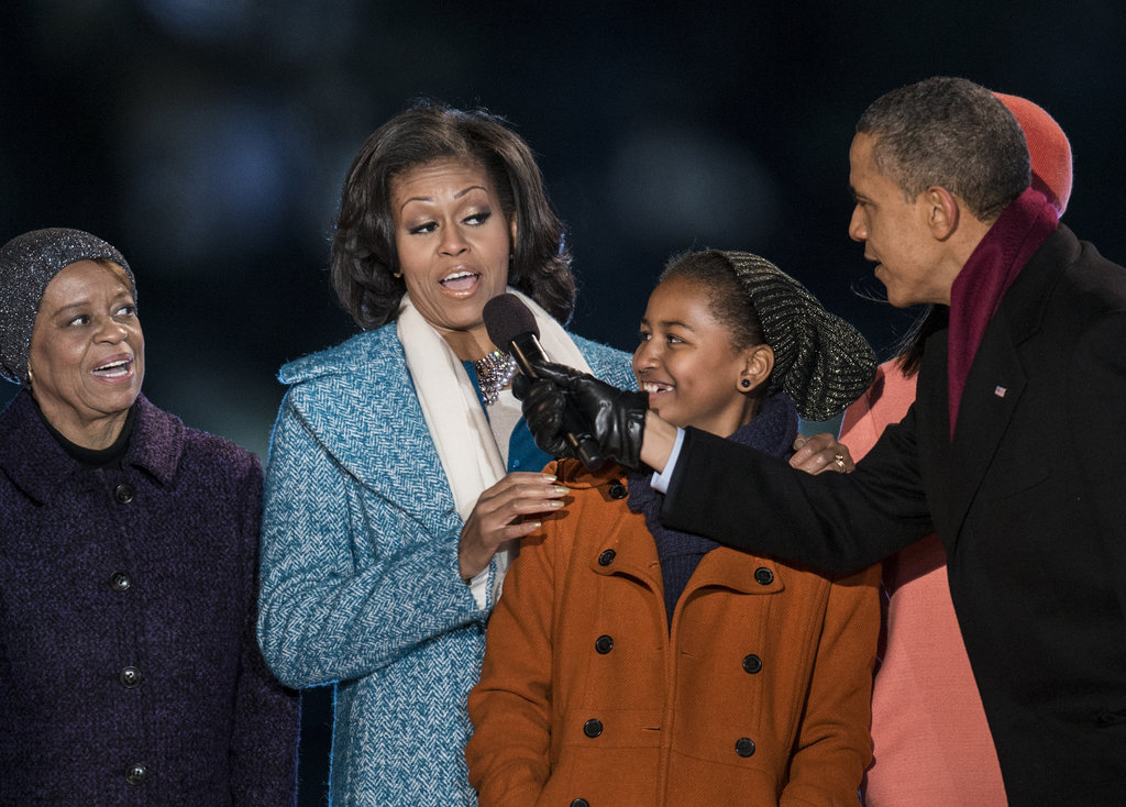 The president got Michelle in on the fun, while her mom looked on.
