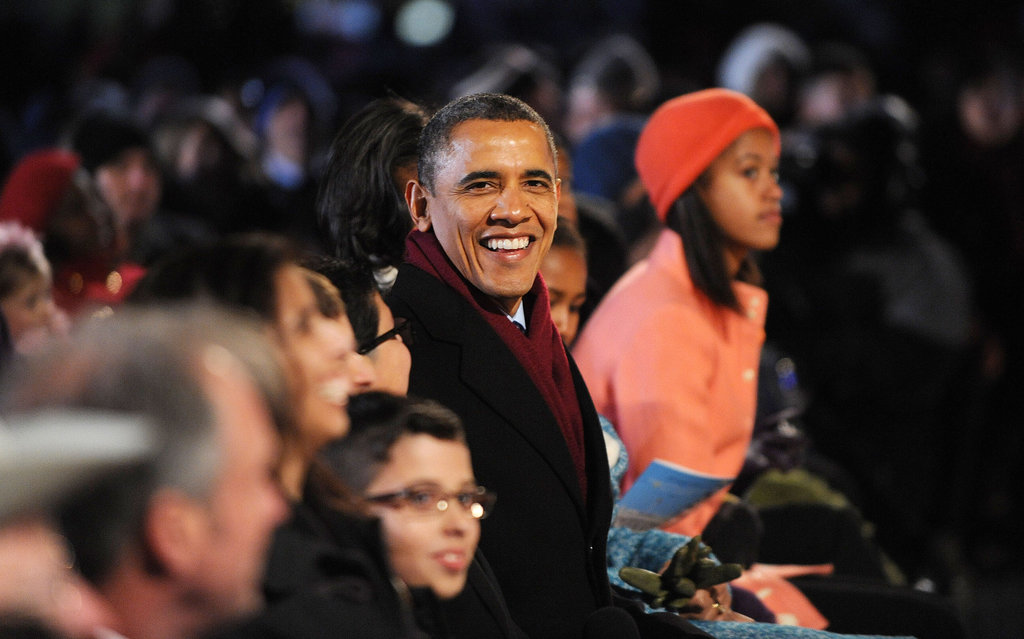 The Obamas took part in the 90th annual national Christmas tree lighting.
